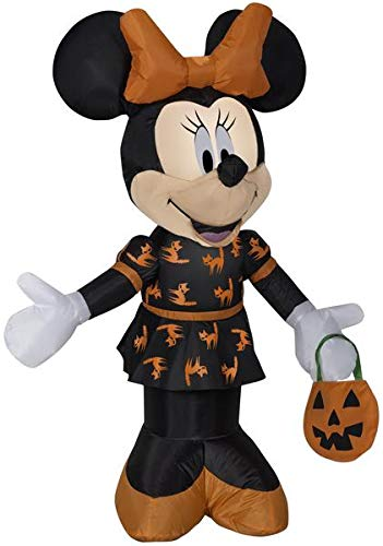 Gemmy 3.5' Airblown Minnie in Black and Orange