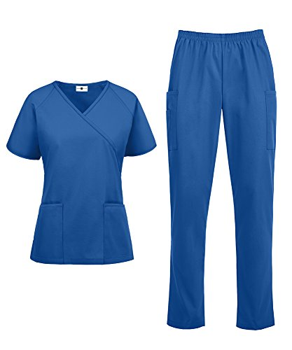 Women's Medical Uniform Scrub Set - Includes Mock Wrap Top and Elastic Pant (XS-3X, 14 Colors) (X-Large, Royal)