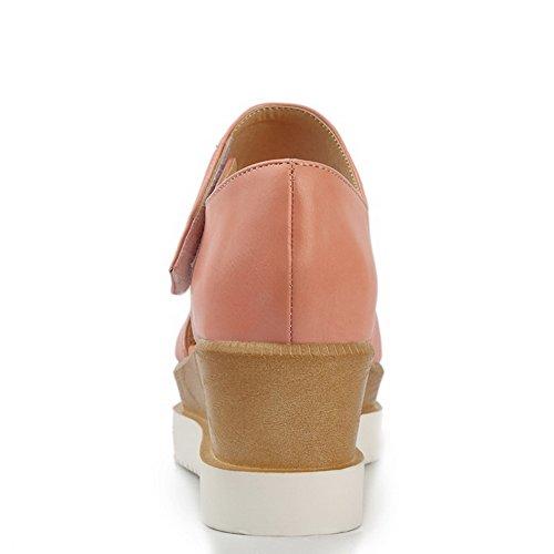 AgooLar Women's Soft Material Hook And Loop Peep Toe Kitten Heels Solid Sandals Pink xXnSOabRF