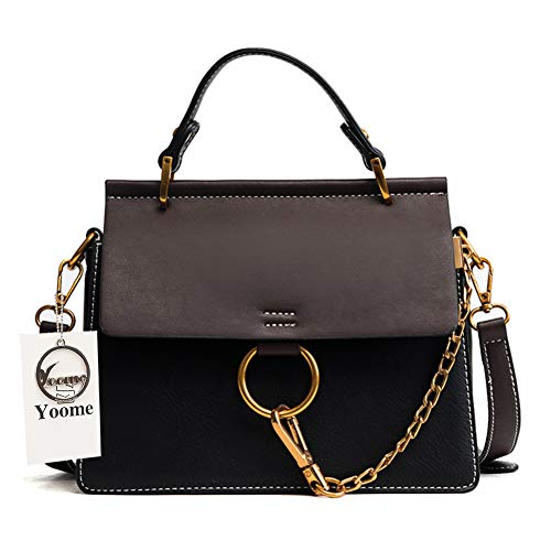 - Yoome Women's Vintage Shoulder Bags Top Handle Handbags Elegant Ring Bag Color Blocking Purse - Black