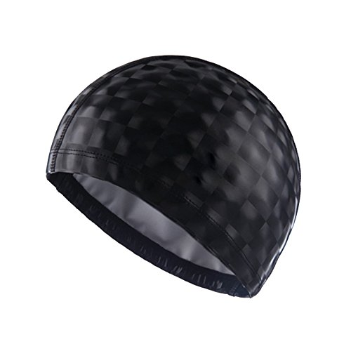 SUPOW® Swimming Cap, New Flexible Durable PU Diving Hat Swimming Equipment Hats Water-Proof Swim Caps Protective Ear Caps (Sequins - Large Heads Extra For Caps Swim
