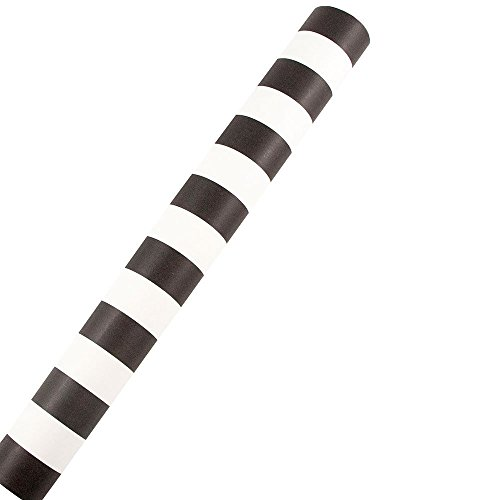 JAM Paper® Design Wrapping Paper - 24 Sq Ft - Matte Black & White Stripe - Matte Wrapping Paper Roll - Sold Individually