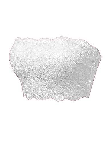 (TL Women's Full Floral Lace Strapless Seamless Stretchy Bandeau Tube Bra Top White)