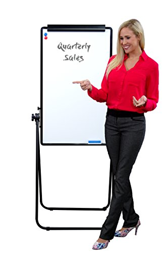 "Self Stick Framed Bulletin Board (A-Frame White Board, Double Sided, Magnetic Dry Erase Board – Flip Over On Stand 22"" x 36"")"