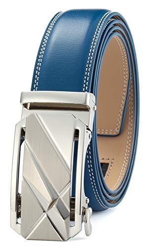- Men's Belt Ratchet Dress Belt with Automatic Buckle Brown/Black-Trim to Fit-35mm wide-0005-blue-125