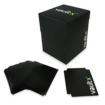 Vault X Caja para mazo de Cartas con Fundas Negras, MTG, Yugioh, Wow (Negro)
