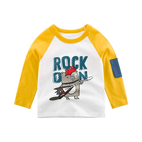 Baby Boys' T-Shirts,Crytech Toddler Kids Long Sleeve Organic Crew Neck Cartoon Car Dinosaur Bear Tiger Animal Pattern Graphic Tee Shirt Autumn Winter Tops Clothes 1T-7T (1-2 Years, Yellow)