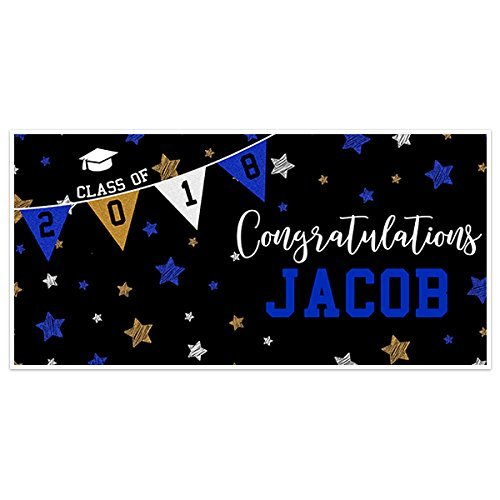Class of 2018 Stars and Stripes Graduation Banner Personalized Party Backdrop