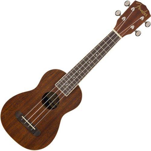 Fender Seaside - Ukelele soprano, 16 Trastes, 'C Forma Cuello, laminado de madera diapasón, satén, natural