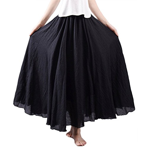 Asher Women's Bohemian Style Elastic Waist Band Cotton Linen Long Maxi Skirt Dress (95CM, Black)