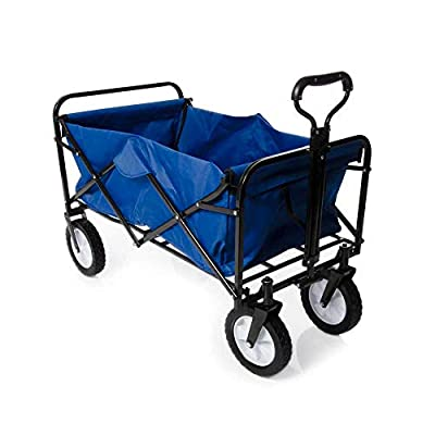 Heavy-Duty-Foldable-Garden-Trolley-Cart-Wagon-Blue
