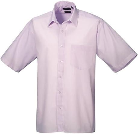 Premier Camisa de manga corta de popelina formal para hombres lila 18.5: Amazon.es: Ropa y accesorios