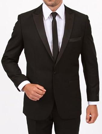 4b3b5b35966554 Elegant Men's Slim Fit One Button Black Peak Lapel Tuxedo (52Long ...