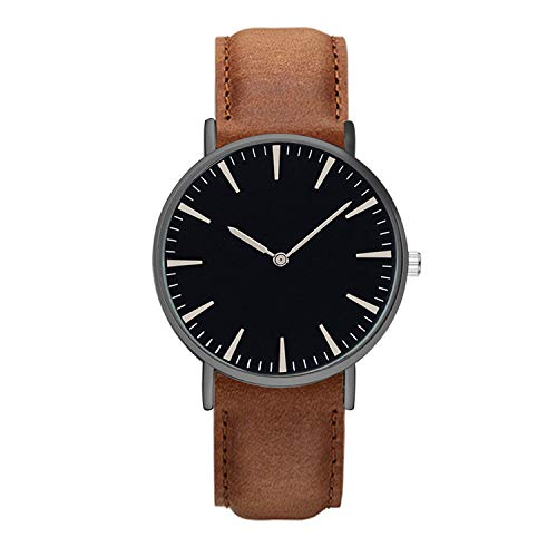 - Classic Quartz Couple Wrist Watch Men and Women Watches Leather Strap Wristwatches Clock Gift,Brown