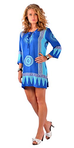 1 World Sarongs Mujeres Abstract Tiki Tunic Cover-Up in Pink/Purple Azul