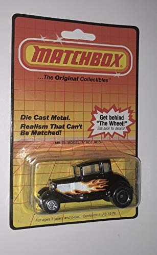 (Matchbox 1983 Model A Hot Rod Black with Flames On Blister Card )