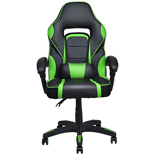 Green Executive Racing Style PU Leather Gaming Chair High Back Recliner Office ()