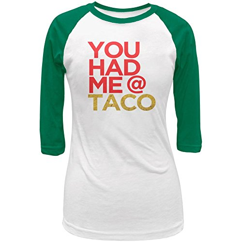 Old Glory Cinco de Mayo You Had Me at Taco Juniors Cap-Sleeve Raglan T Shirt White-Kelly 2XL (Cap Mexico Womens T-shirt Sleeve)
