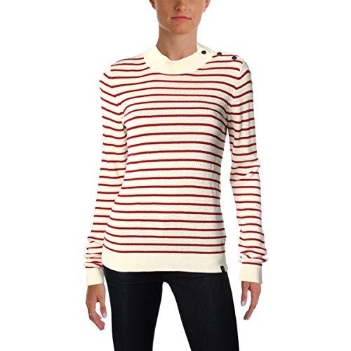 Scotch & Soda Womens Knit Striped Pullover Sweater Ivory L (Scotch And Soda Sweater)