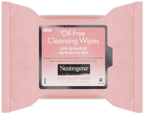 Neutrogena Oil Free Facial Cleansing Makeup Wipes with Pink Grapefruit, Disposable Acne Face Towelettes to Remove Dirt, Oil, and Makeup for Acne Prone Skin, 25 ct (Pack of 6)