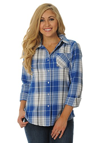ts Women's Plus Size Boyfriend Plaid Shirt, 1X, Royal Blue/Grey/White (Kentucky University Embroidery)