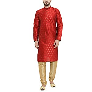 Sojanya (Since 1958) Men's Silk Blend Kurta & Churidar Pyjama SET