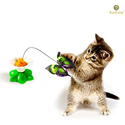 Spinner Toy for Cats by SunGrow: Irresistible Spinning Butterfly: Provides Ultimate Stimulation and Entertainment for Cats- Perfect for High Energy Kittens