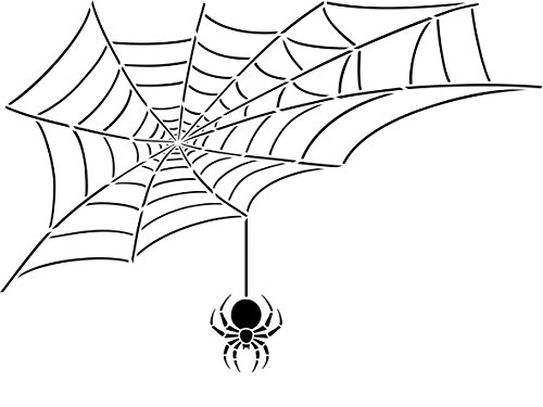 "Halloween Spider Web Stencil - (size 12""w x 6.5""h) Reusable Wall Stencils for Painting & Holiday Projects - Use on Walls, Floors, Fabrics, Glass, Wood, Terracotta, and -"