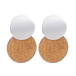 Statement Earrings 2019 Fashion Metal Wooden Earrings For Women Gold And Silver Jewelry Ethnic Vintage Drop Earrings Silver Brown