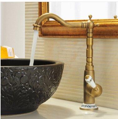 5151buyworld Top Qualität Wasserhahn Vintage Antik Messing Waschbecken Wasserhahn für Küche & Badezimmer Küche Wasserhahn mit Keramik handlefor Badezimmer Küche Home Gaden (begriffsklärung), chrom,