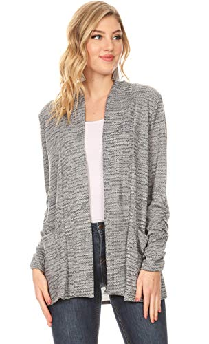 Long Sleeve Lightweight Cardigan Sweater for Women with Pockets - Made in USA (Size Large US 10-12, Grey Chevron)