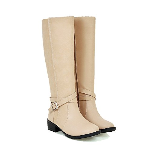 Solid Closed Round Zipper Toe Beige Boots Heels PU Low Women's AgooLar aq7wpp