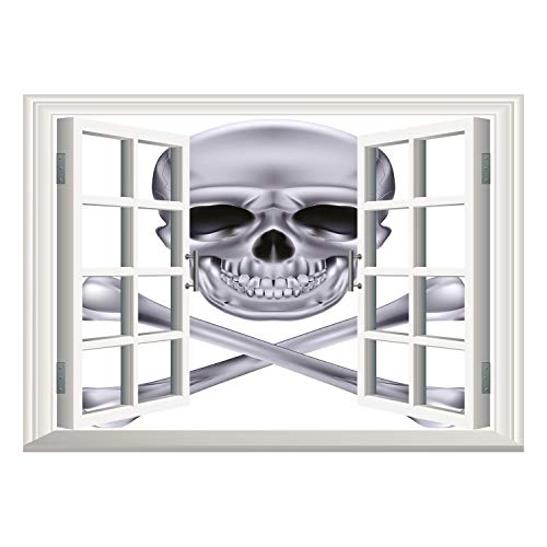 SCOCICI Peel and Stick Fabric Illusion 3D Wall Decal Photo Sticker/Silver,Vivid Skull and Crossbones Dangerous Scary Dead Skeleton Evil Face Halloween Theme Decorative,Dimgray/Wall Sticker Mural