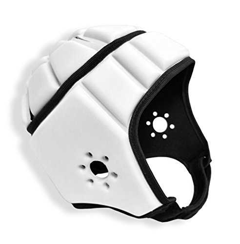 EliteTek Soft Padded Helmet Headgear Protection: 7on7 Tournaments, Flag Football, Team Sports, Training, Rugby, Lacrosse, Soccer, Practice & Epilepsy FITS Youth & Adult! (White, Medium)