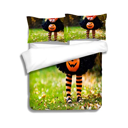 MTSJTliangwan Family Bed Little Girl on Halloween Trick or Treat in Fall Forest 3 Piece Bedding Set with Pillow Shams, Queen/Full, Dark Orange White Teal -