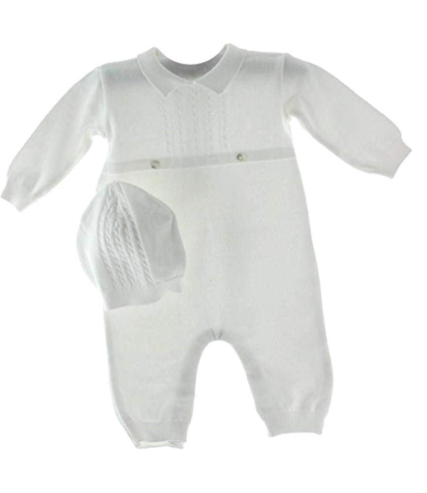 Baby Boys White Knit Coverall Set with Cap (Newborn) by Feltman Brothers