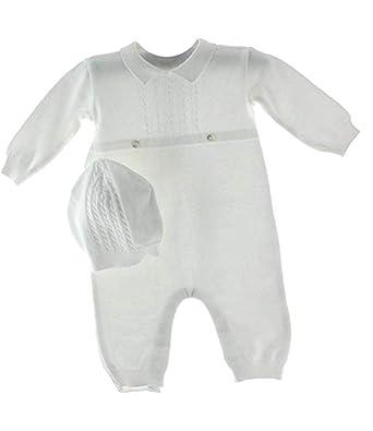 508da91e6 Amazon.com: Baby Boys White Knit Coverall Set with Cap (Newborn ...