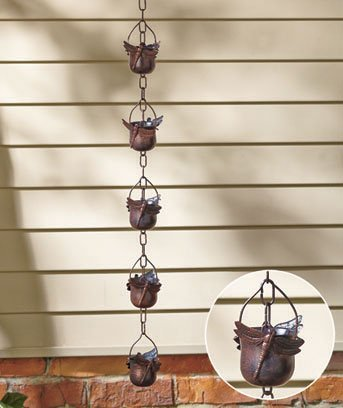 Beautiful Dragonfly Iron Rain Chain Design - Trickles Down Filling and Overflowing Each Little Bucket and Creating a Soothing Sound]()
