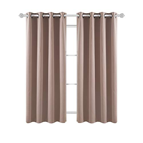 Deconovo Grommet Top Blackout Curtains Thermal Insulated Room Darkening  Curtains Window Drapes For Office 52W X 63L Inch Khaki 1 Pair