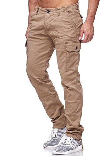 Casual Bridge Stretch Pantalones Beige Pantalón Cargo Bolsas con Hombre Red TqfUgZZ