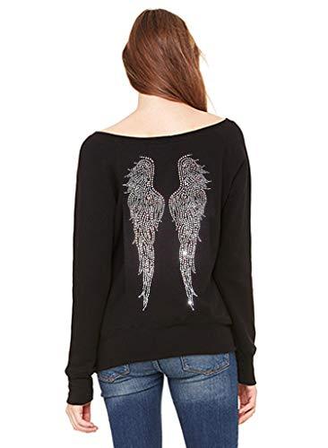 Interstate Apparel Women's Rhinestone Huge Angel Wings C11 Black Wide Neck Sweatshirt Medium ()