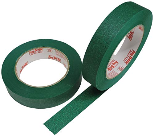 2pk 1 in x 60yd Green Masking Tape Extra Sticky PRO Grade High Stick Special Project Painters Tape Painting Trim Arts Crafts School Home Office 21 Days 24MM x 55M .94 inch Evergreen Dark