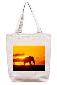 De la puesta del sol - elefante de lona del algodón bolso de mano