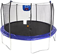 Skywalker Trampolines 15-Feet Jump N' Dunk Trampoline with Safety Enclosure and Basketball