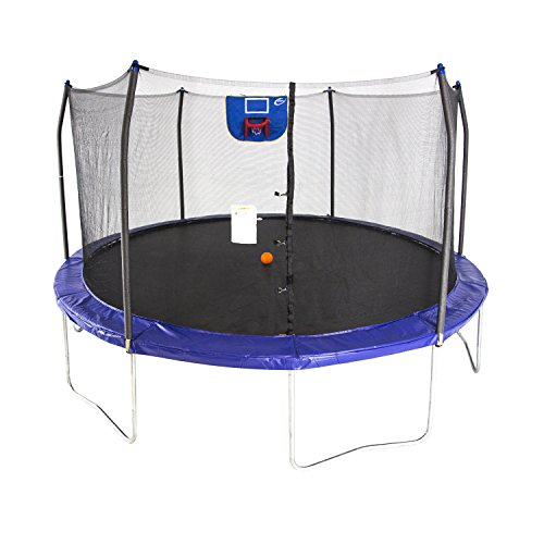 Skywalker Trampolines 15-Foot Jump N' Dunk Trampoline with Enclosure Net - Basketball Trampoline (Best Trampoline Basketball Hoop)
