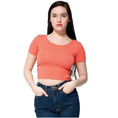 American Apparel Women Cotton Spandex Jersey Crop Tee
