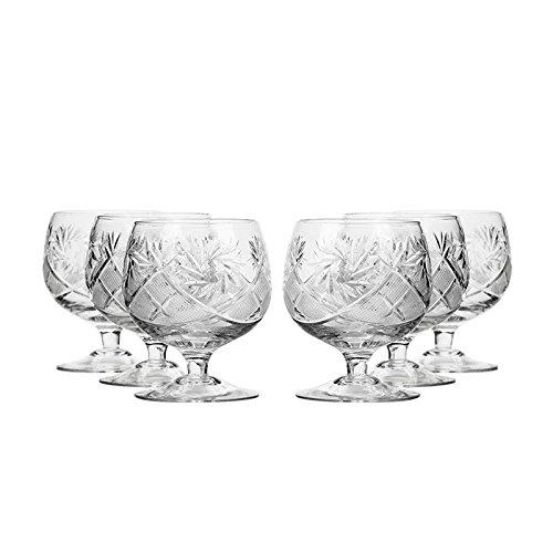 Set of 6 Neman Glassworks, 10-Oz Hand Made Vintage Russian Crystal Glasses, Brandy Cognac Snifters, Old-fashioned Glassware by Neman Glassworks