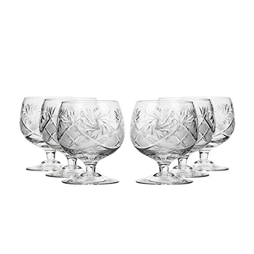 Bohemia Crystal TM5290, 7 OZ Crystal Hand-Made Brandy Glasses, Scotch Whiskey Cut Crystal Snifters on a Stem, Wedding Drinkware, Set of 6 - Belle Crystal