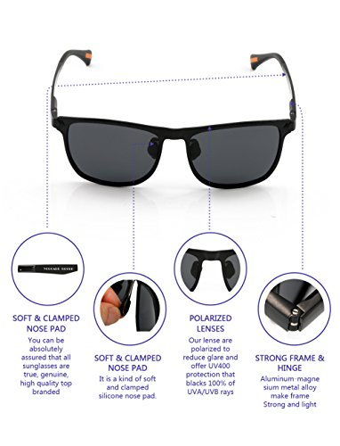 7ec7f35cb0e3c Yougarr Group Retro Wayfarer Sunglasses Polarized Metal Frame Classic  Vintage Design for men women (Black