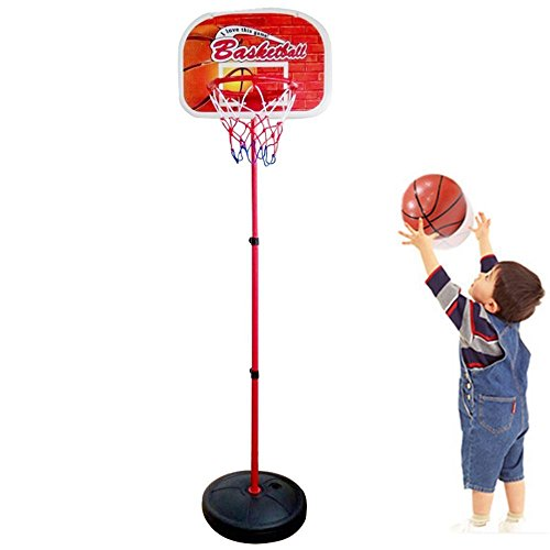 Basketball Set Adjustable Stand with Net and Ball Outdoor Indoor Portable Sport Game for 3 Years Old and up